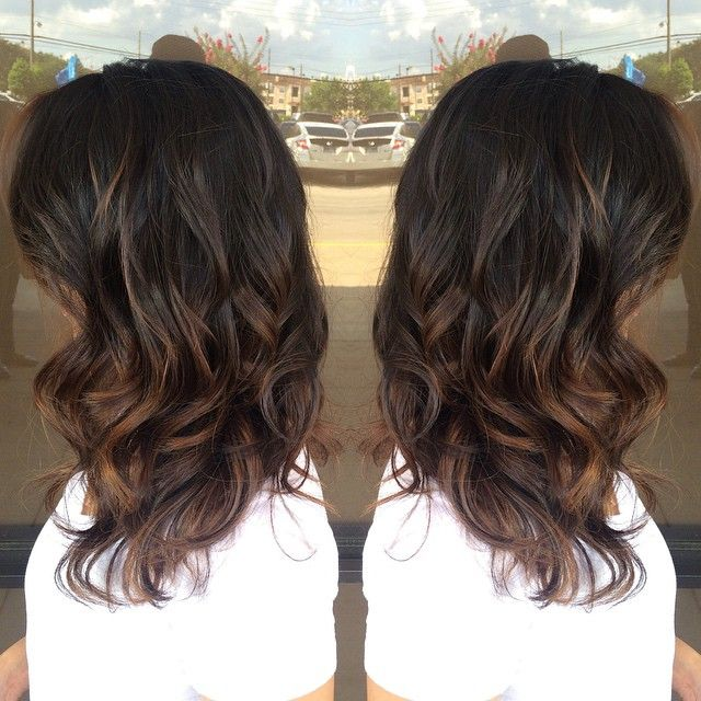 Dark brown with Carmel and shoulder length