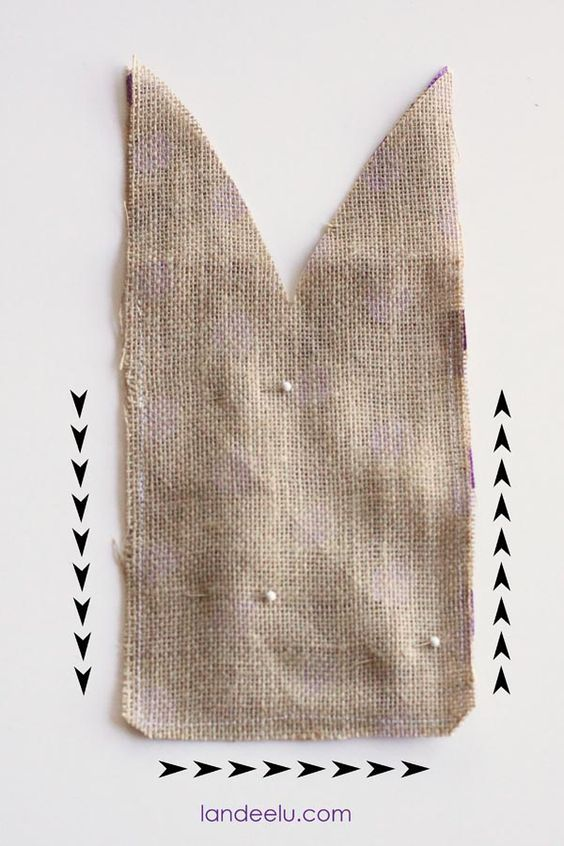 Polka Dot Burlap-found at JoAnns ( a bag is around 5 -7 wide and 10-13 in tall ) to determine how much burlap to buy. Decide on  a size and cut a rectangle. Then a V in the middle (aboyt 2 1/2 in down) to make the ears. Put right sides together, pin, sew 3 sides and leave the top open. Clip corners.