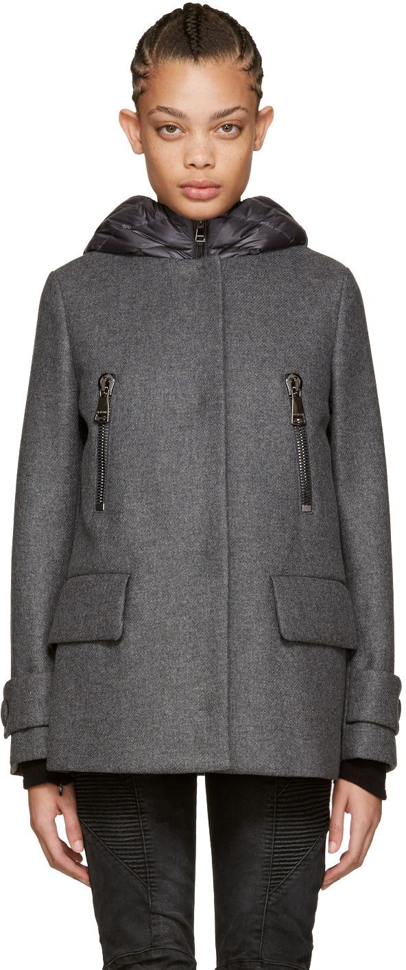 Moncler - Grey Wool & Down Euphemia Coat