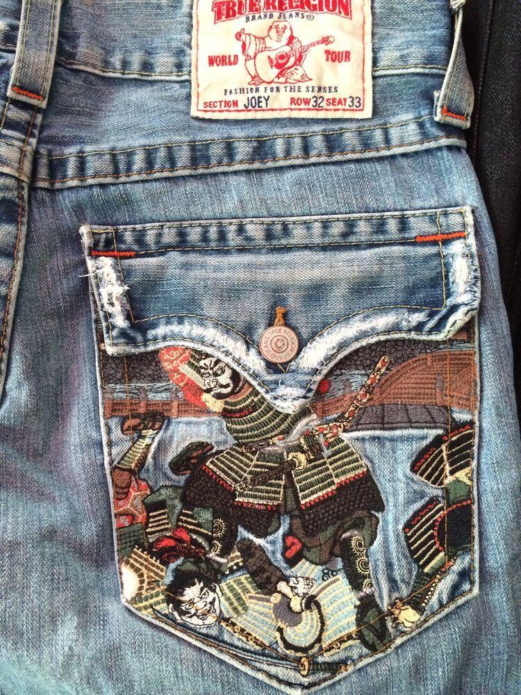 774473c31 True Religion Joey Jeans Sz 32 Samurai Pocket Twisted Seams Distressed   TrueReligion  Bootcutflare