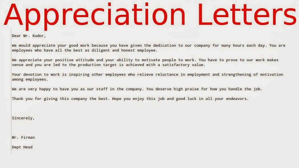 Appreciation Letters For Good Work Boss Letter Free Amp Resume