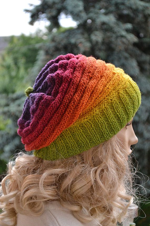 Knitted multicolor kauni lace beani cap hat rainbow by DosiakStyle