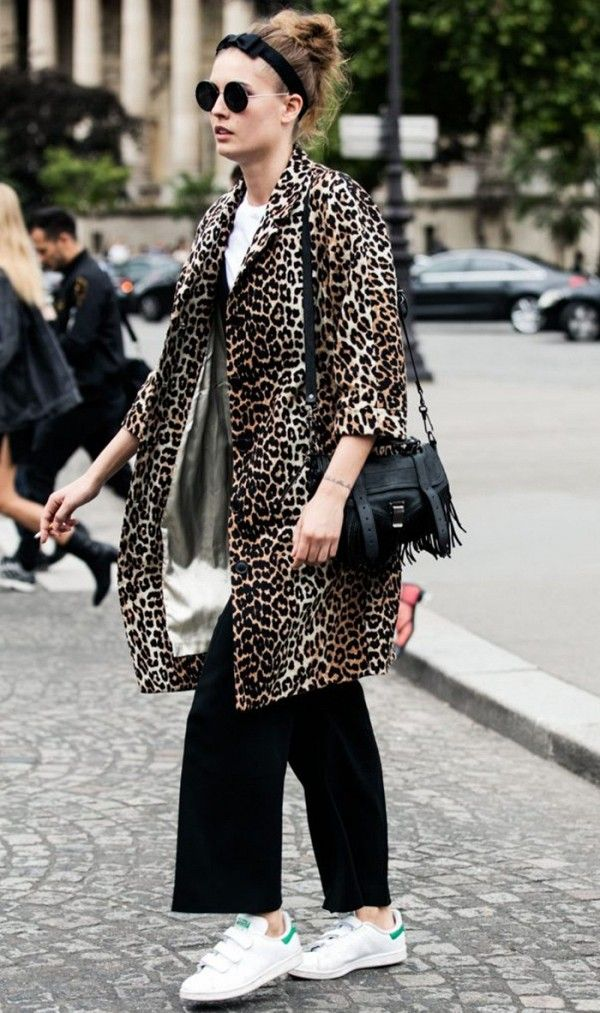 Leopard Coat + Sneakers