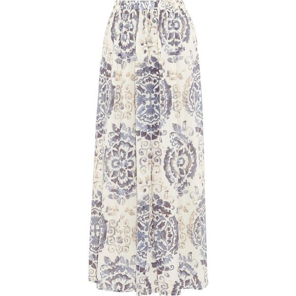 Tory Burch Soraya printed silk-blend maxi skirt ($250) ❤ liked on Polyvore featuring skirts, elastic waist maxi skirt, tory burch, pull on skirt, ankle length skirt and floor length skirt