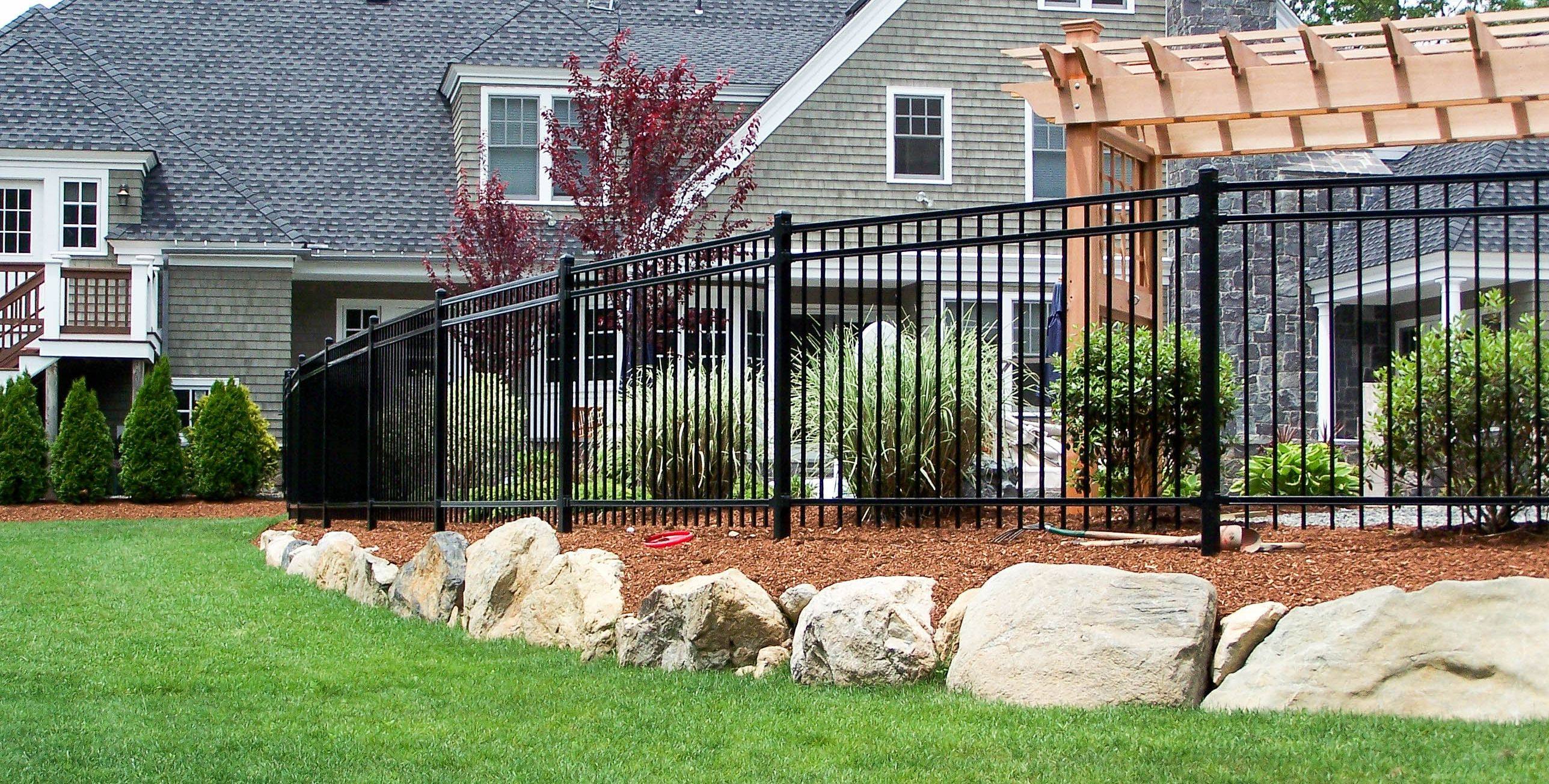 Montage Is Ameristar S Steel Wrought Iron Look Ornamental Fence For Residential Fence Types Backyard Fences Iron Fence Wrought Iron Fences