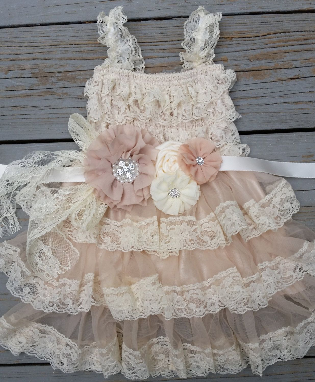 Rustic Flower Girl Dress Lace Flower By TheDaintyDaisyNJ