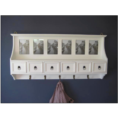 White Wall Coat Hooks And Storage Drawers Photo Frames