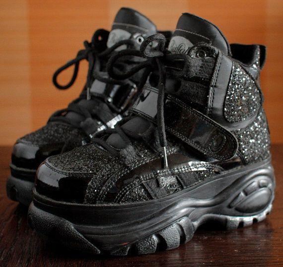 Sale BUFFALO Platform Patent Glitter Sneakers Rave Club