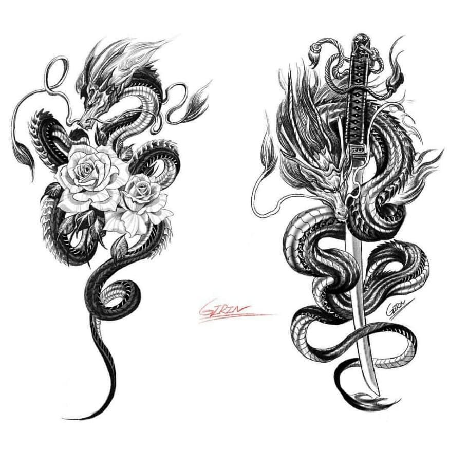 "💎 Gallery Tattoos & Art 💎 on Instagram: ""🐉 🐉 Sword & Flower 🐉 🐉 New Beautiful designs👌👍 Artist @girin_tattoo . . Tag your artist friends🙏 Thanks for support❤ . For Share Works…"" - Moyiki Sites"