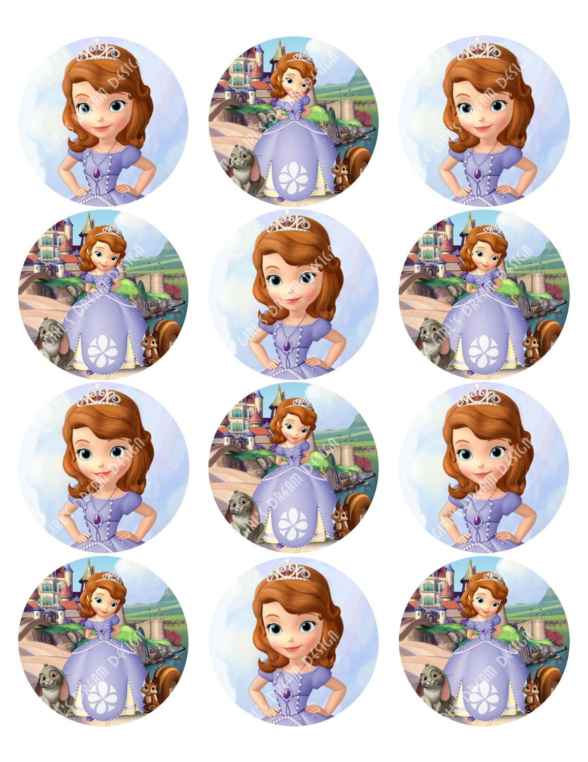 Cupcake Toppers Princess Sofia The First Inspired Round Disney