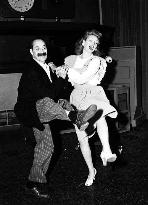 Lucille Ball and Groucho Marx, CBS's KNX radio studios, 1945.