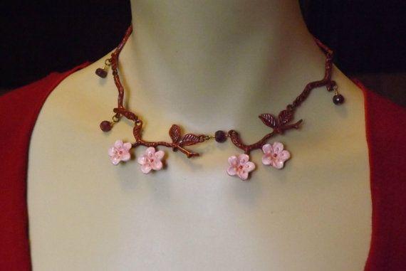 Cherry Blossom Nature Jewelry Ruby Cherry by RenesJewelryArt