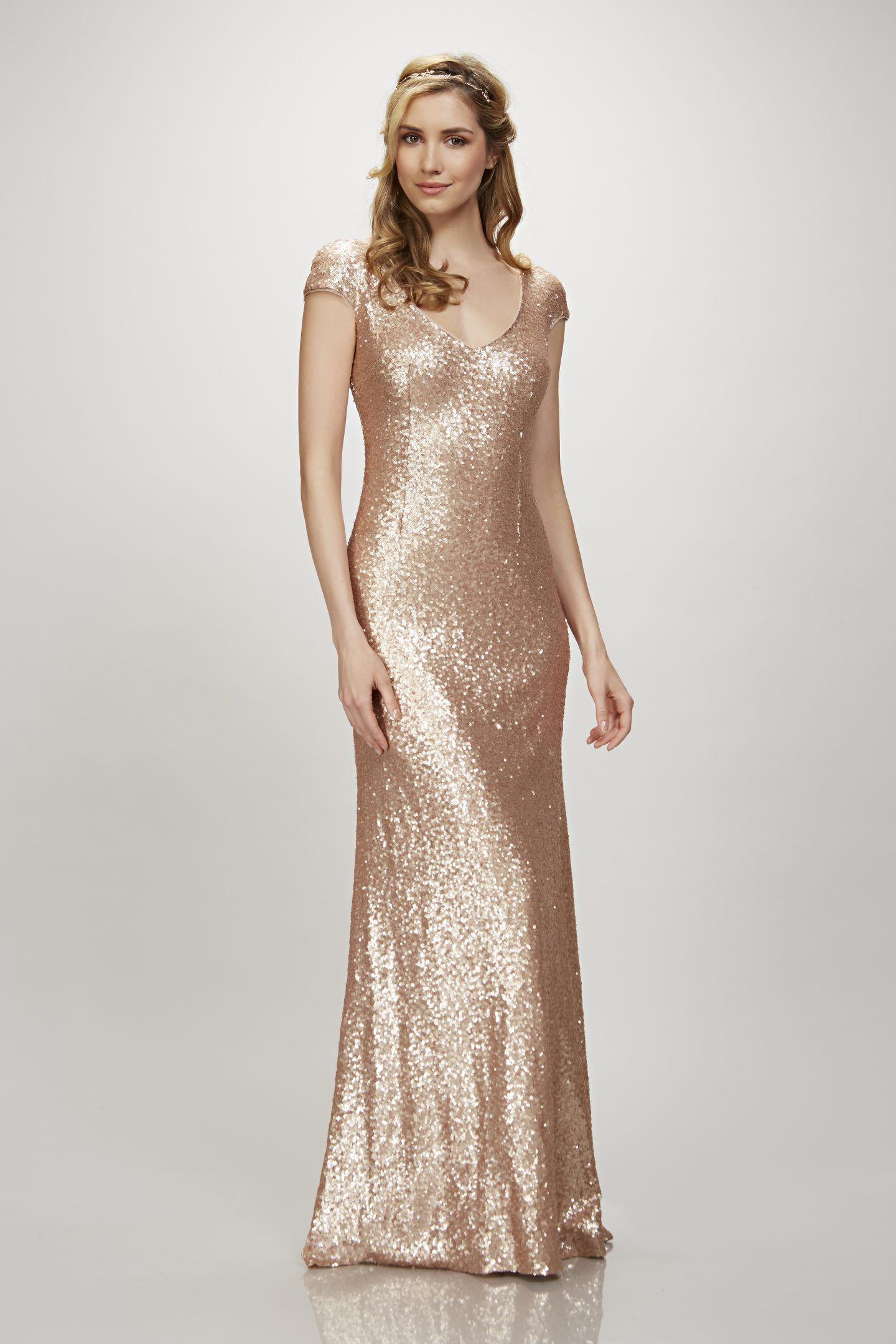 THEIA Bridal Kaylee gold sequin bridesmaid dress long bridesmaids ...