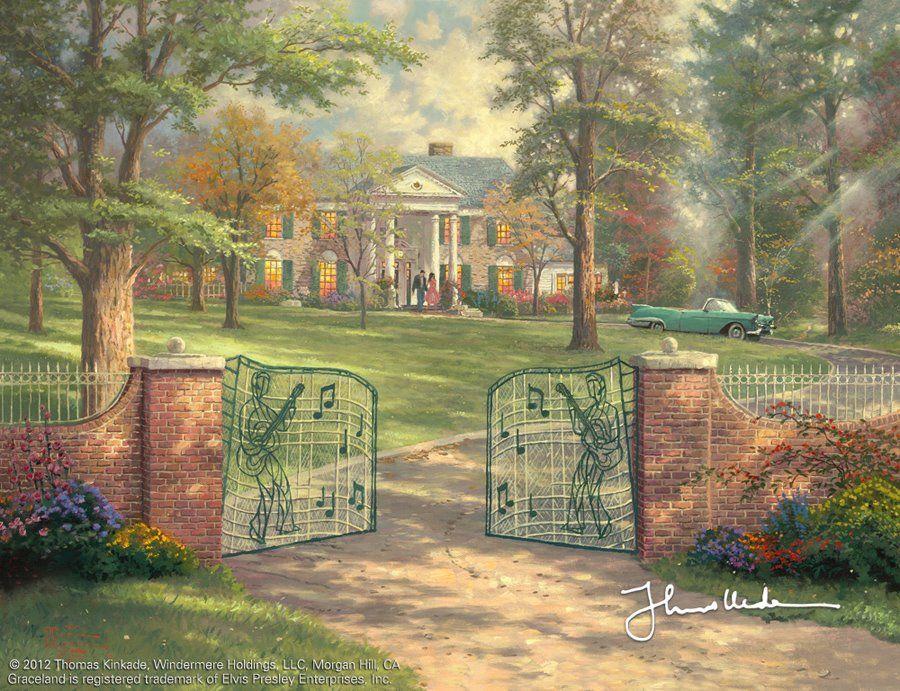 Hermoso cuadro de Tomás Kinkade Company, es la casa Graceland, situada en Memphis Tennessee. Es la mansión donde vivió Elvis Presley.