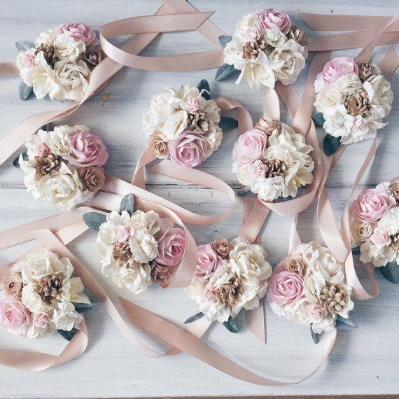 Pale Pink Ivory Bridal Braceletbridesmaid Corsage Wrist Weddings