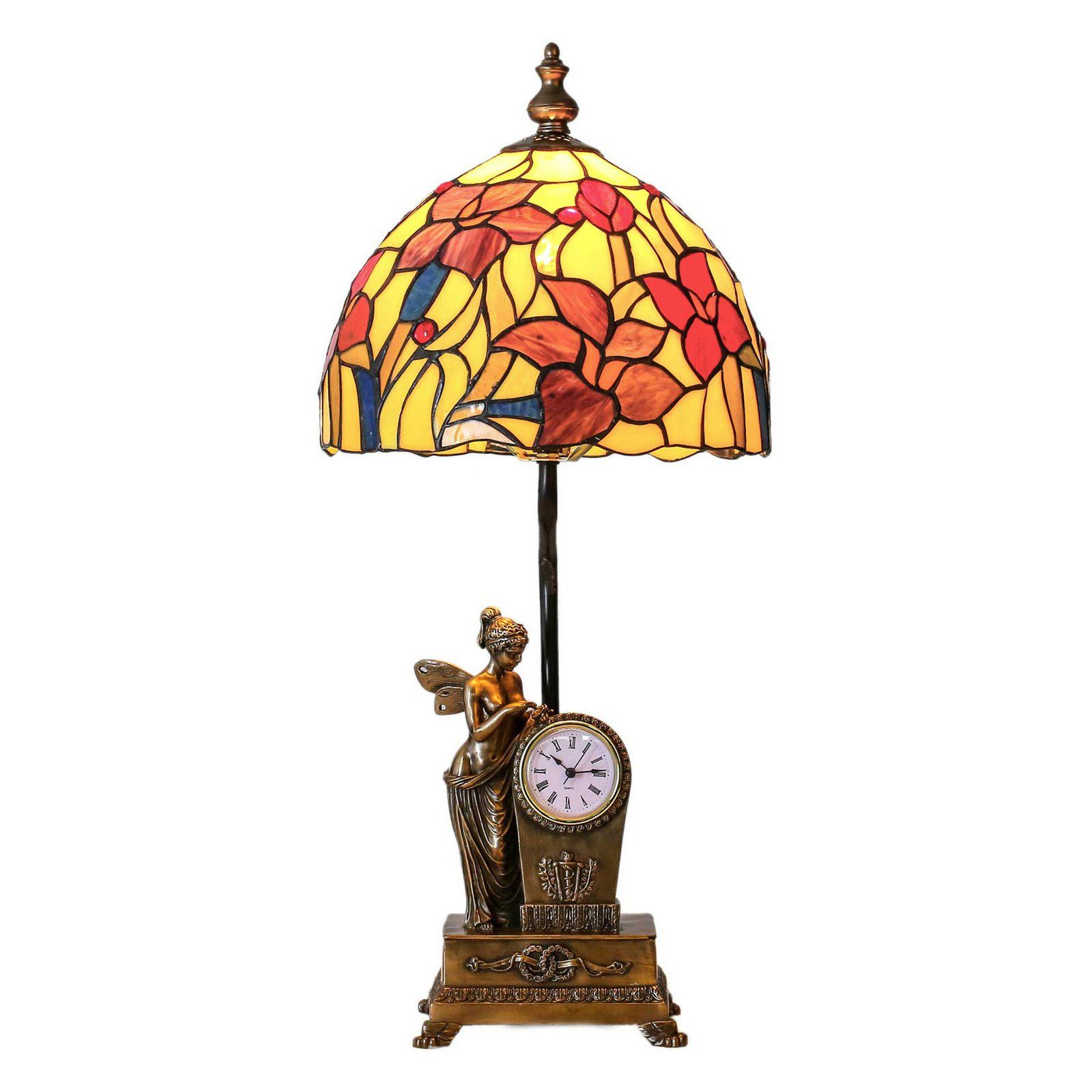 River Of Goods Stained Glass Fairy Blossoms Table Lamp With Clock