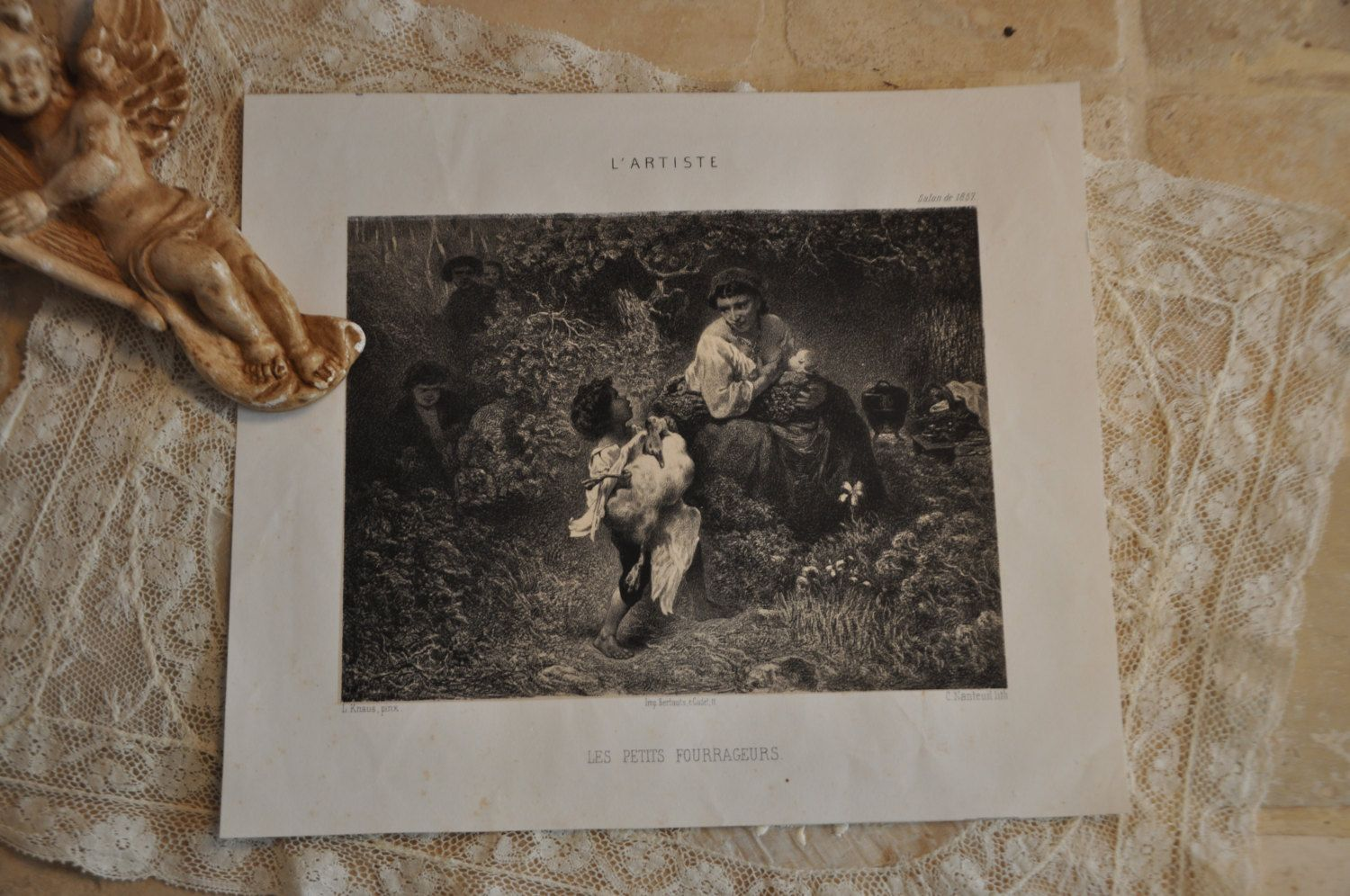 Antique french print french art lithograph black white picture