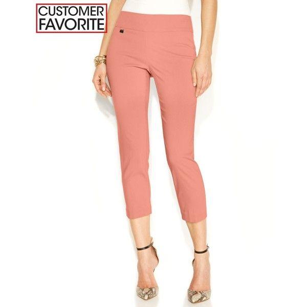 Alfani Skinny Pull-On Capri Pants ($35) ❤ liked on Polyvore featuring pants, capris, georgia peach and alfani