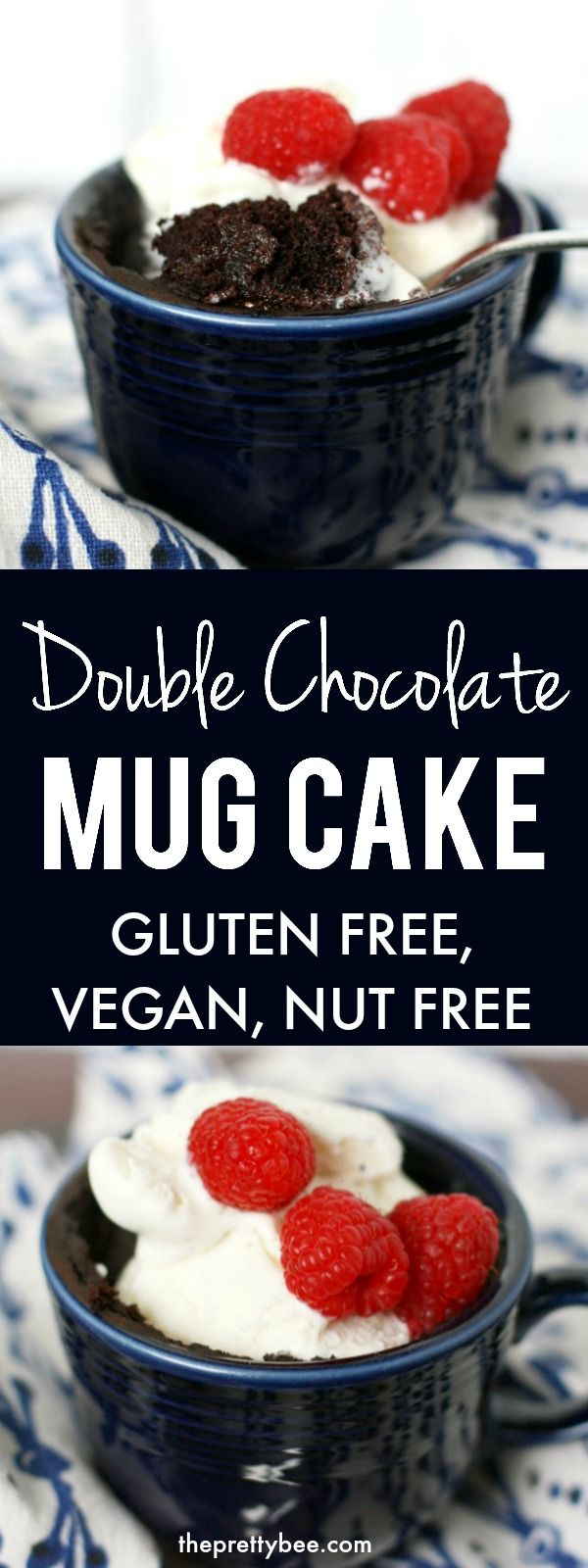 Gluten Free Chocolate Mug Cake (Vegan, Nut Free) This gluten free and vegan chocolate mug cake is just the thing to make after a long day! Treat yourself with this decadent single serving dessert recipe.