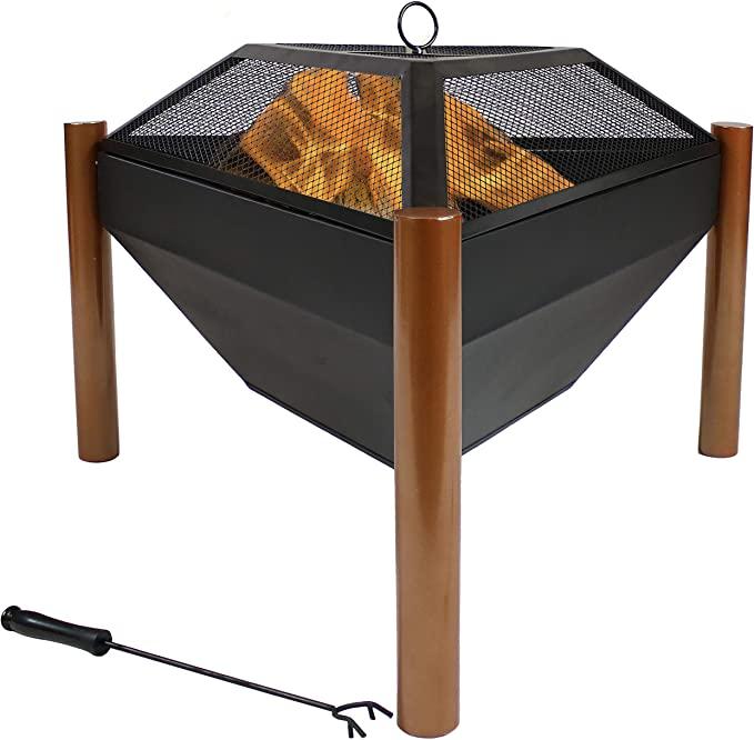 Photo of Amazon.com : Sunnydaze Triangle Fire Pit – Outdoor Wood Burning Burn Pit – Durab…