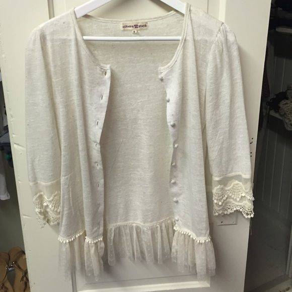 Adorable, lace detailed button up sweater Thin, button up sweater. Beautiful lace details on sleeve and hem. Worn once! Altar'd State Sweaters