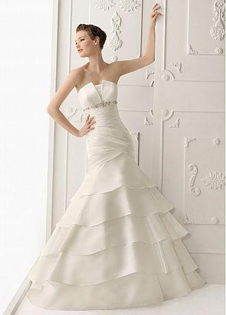 Stunning Satin Mermaid Strapless Neckline Wedding Dress  With Beadings