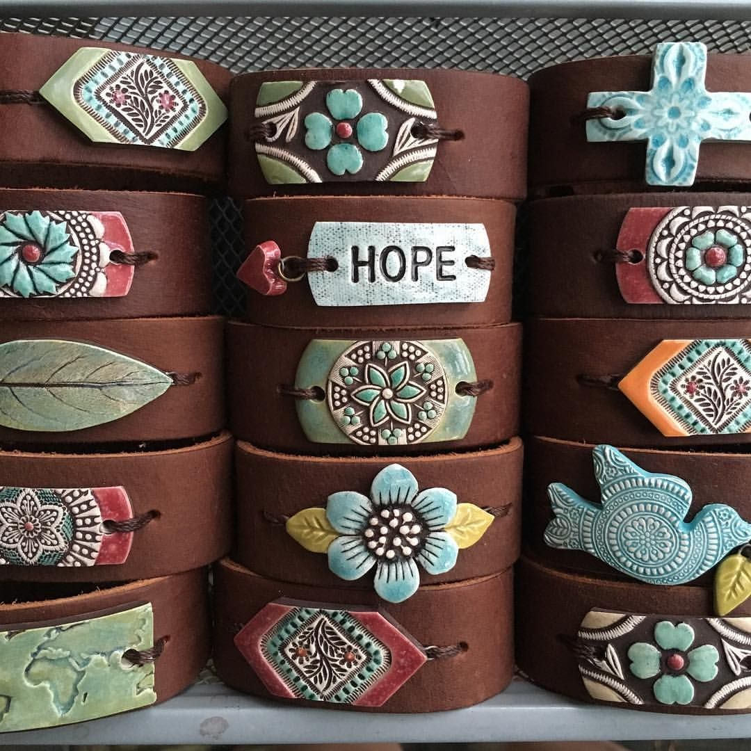 Ceramic And Leather Cuff Bracelets Bypelled Designs
