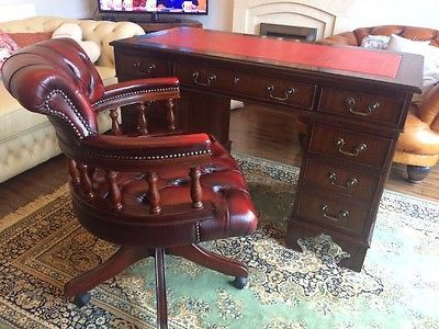 leather antique wood office chair leather antique. Antique Style Red Leather Top Desk Chesterfield Captains Chair FREE UK P Leather Antique Wood Office Chair