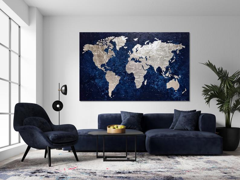 Navy Blue Silver Leaf Painting Large World Map Painting Etsy In 2020 World Map Decor Silver Leaf Painting Painted Leaves #navy #blue #and #silver #living #room #ideas