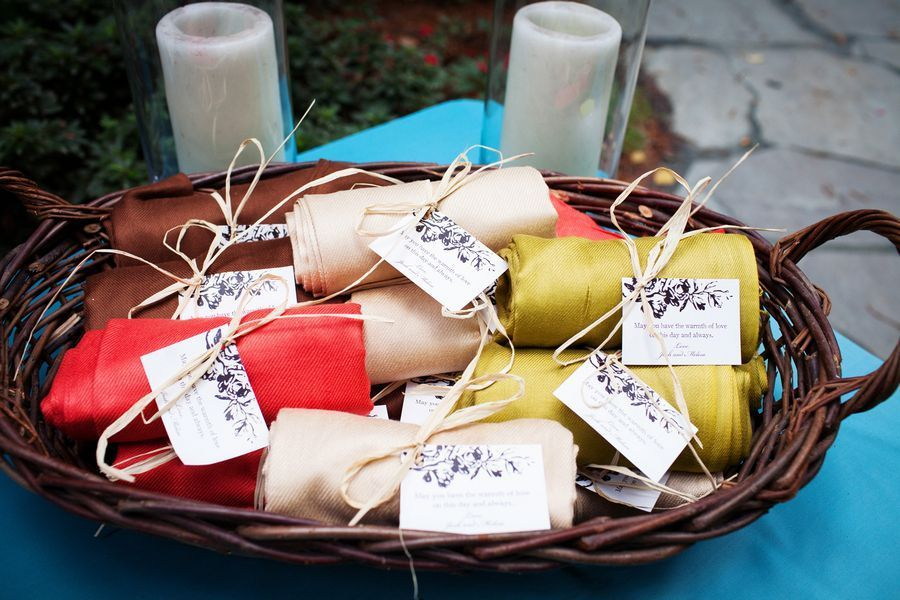 shawl favors for guests - keep warm during the wedding