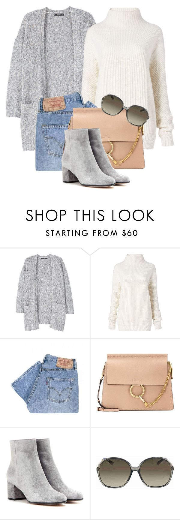 """""""10:49"""" by monmondefou ❤ liked on Polyvore featuring MANGO, Diane Von Furstenberg, Levi's, Chloé, Gianvito Rossi, Gucci, everyday and gray"""