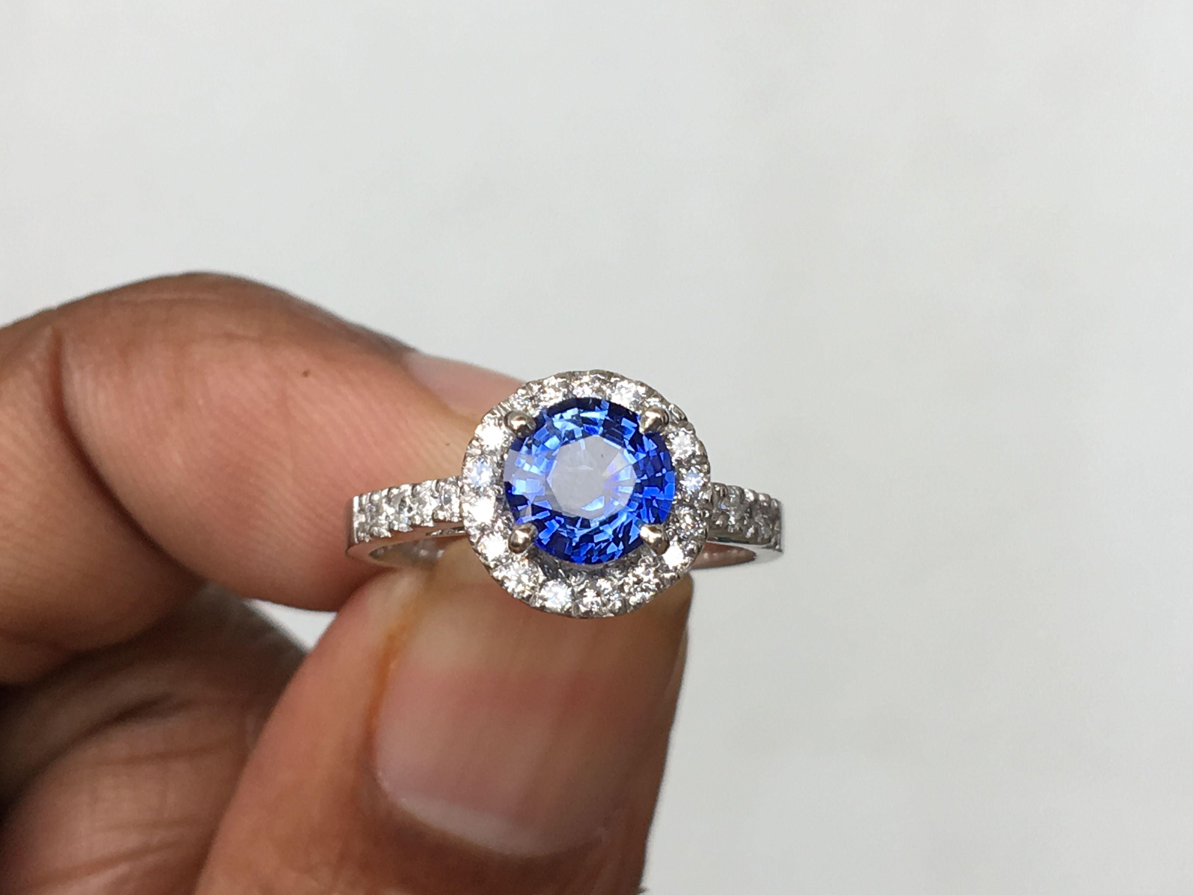 Ceylon Blue Sapphire Halo Engagement Ring1 2 Carat Round Blue Etsy Blue Sapphire Engagement Ring Halo Sapphire Engagement Ring Blue Blue Sapphire Halo