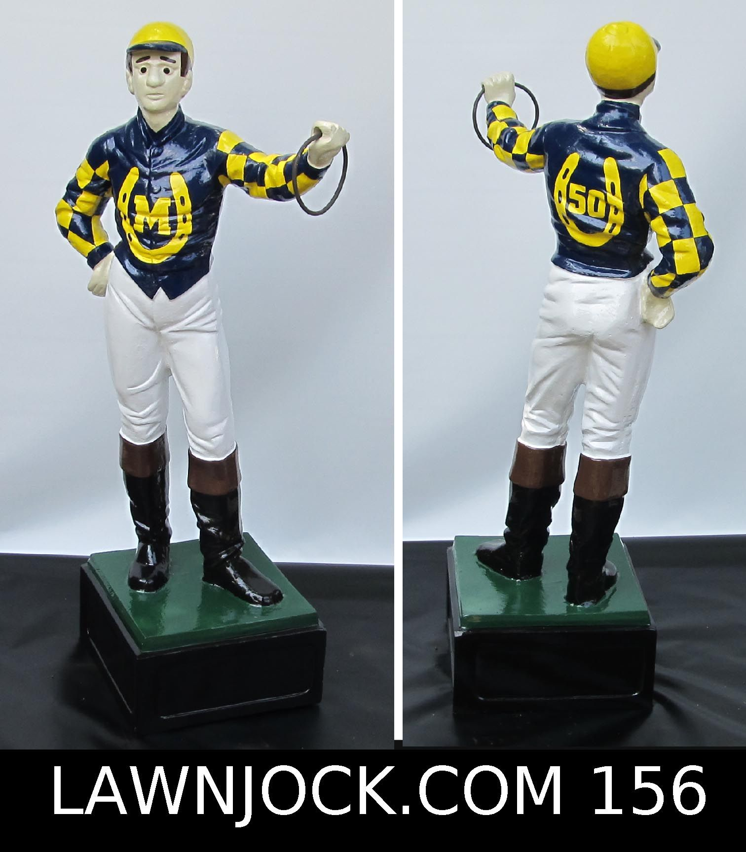 The traditional lawn jockey statue is taking back America's boring suburban neighborhoods one yard at a time. Your lawn is next! Want an REAL METAL jock professionally painted using 2 coats of high gloss enamel like this one shipped directly to your mansion in about 3 weeks? Visit lawnjock.com for a price quote today and reference custom example #156.