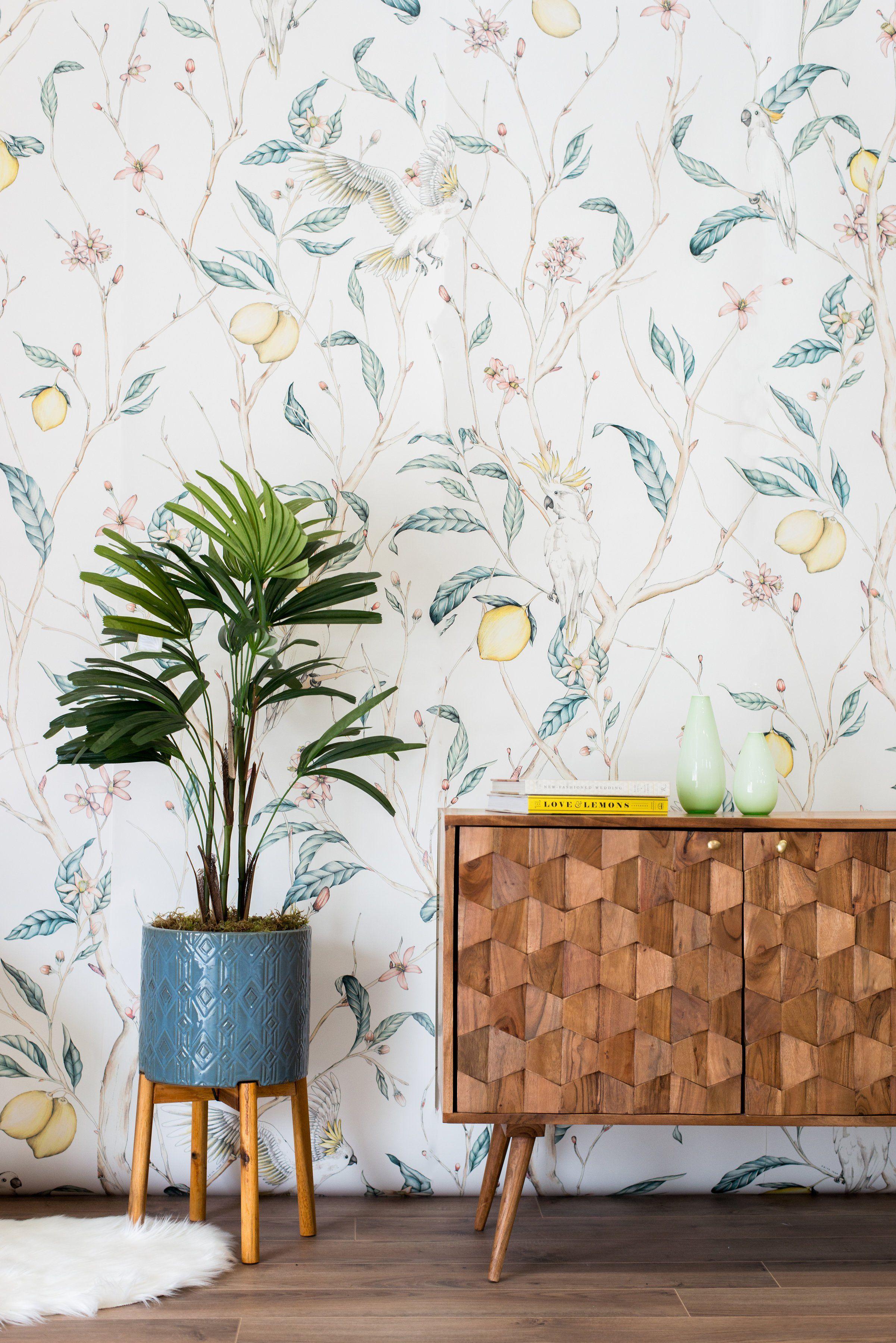 The Verbena Lemon Tree Wallpaper In 2021 Green Leaf Wallpaper Tree Wallpaper Leaf Wallpaper