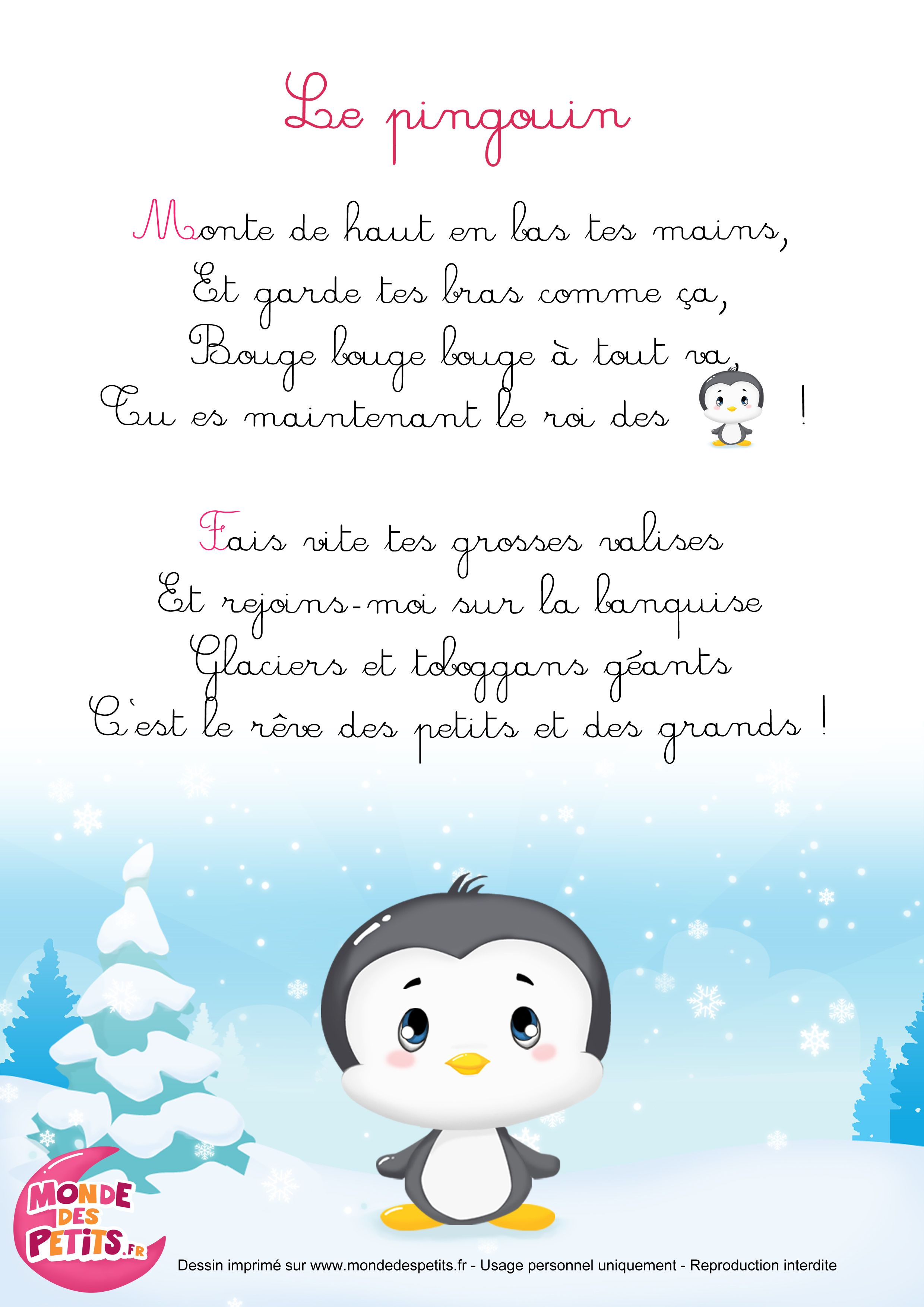 Comptines A Gestes Le Pingouin