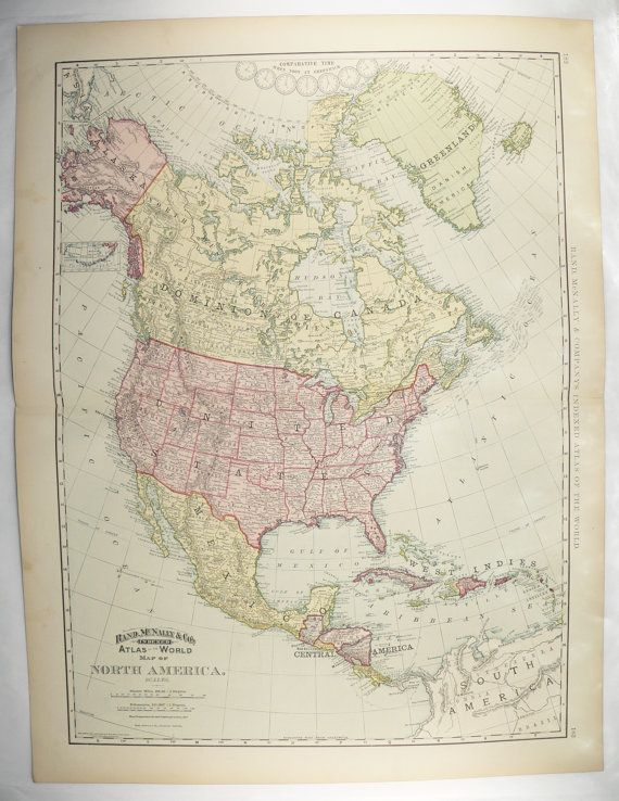 1898 Very Large North America Map, United States, Mexico Map ...