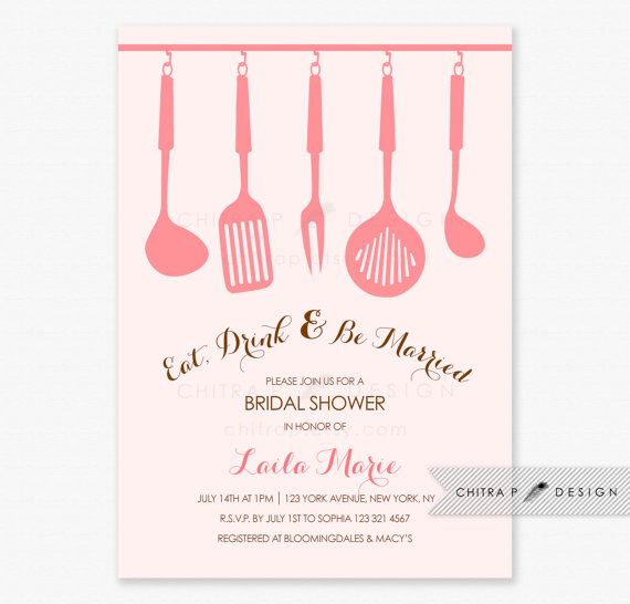 Blush Kitchen Tea Bridal Shower Invitation - Printed, Stock the Kitchen Tea Luncheon Wedding Couples Housewarming Party Pink Recipe - chitrap.etsy.com