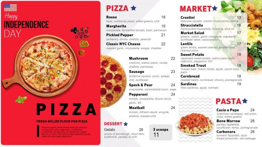 Independenceday Special Menu Board For Digital Signage For Restaurants Digital Menu Boards Menu Board Design Menu Design