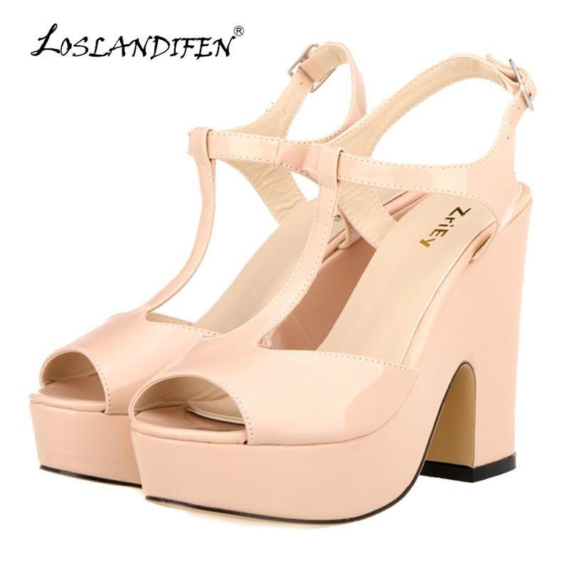 80098a6c7c0 LOSLANDIFEN Women Platform Peep Toe High Heel Sandals Ladies Wedges Patent  Leather Party Wedding Shoes