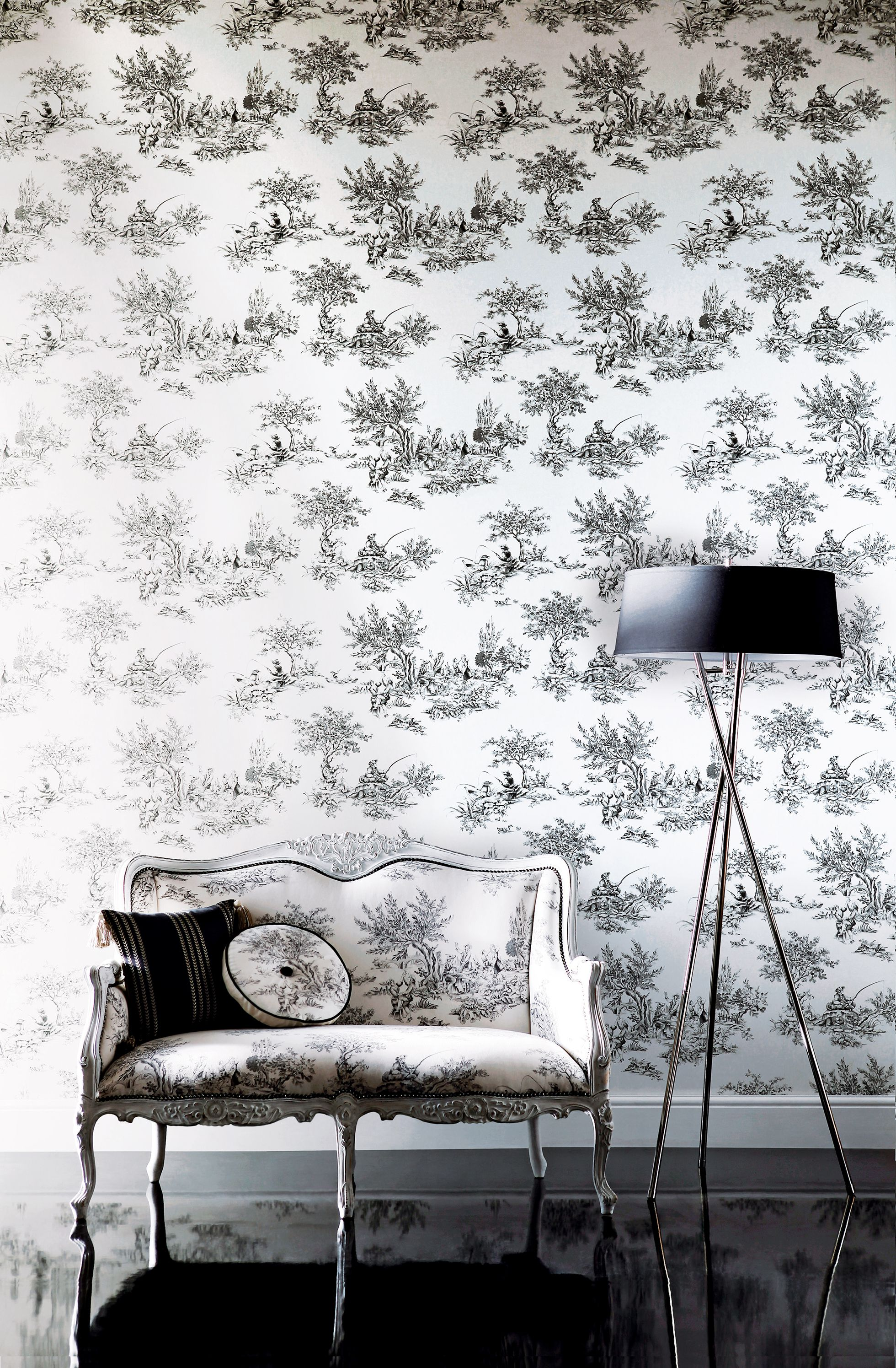 Traditional hallway wallpaper  Black and white  the essential spring update Etienne wallpaper