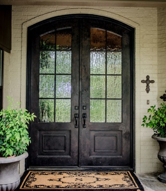 glass double front door. Featured, Fabulous Double Front Entry Door With Black Color And Fiberglass As Traditional Exterior: Impress Your Guest Exciting Main Design Ideas Glass R