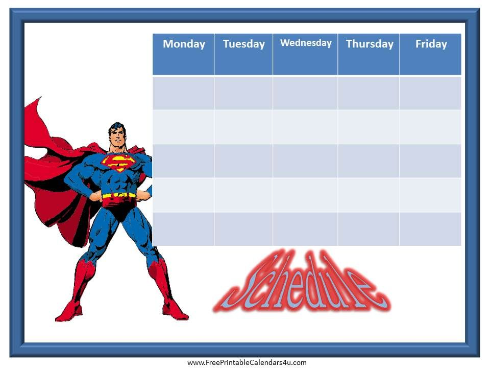 Superman Printable Weekly Schedule  Weekly Calendar For Boys