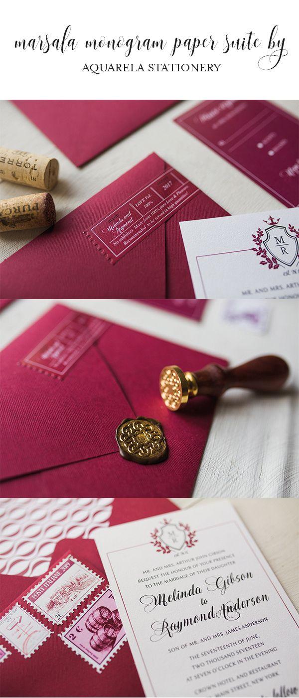 wine marsala Wine Wedding Invitations Vineyard Wedding