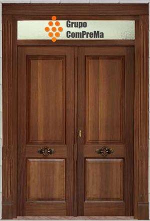Puerta entrada dos hojas en madera de iroko mod 001 - Puertas de dos hojas ...