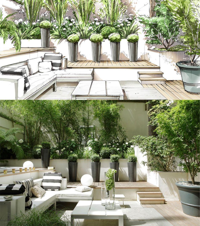 Planned vs actual garden pinterest terrazas for Paisajismo patios