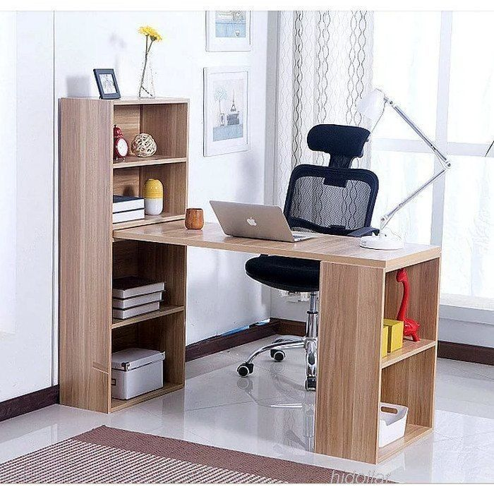 Office Study Computer Table Desk With Double Bookcase Book Shelf