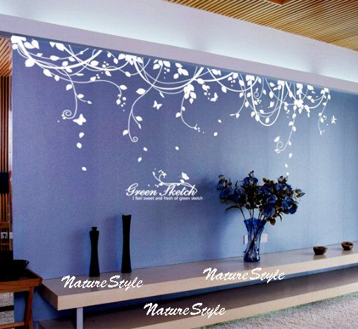 Abstract Flowers with Butterflies Vinyl Wall Decalwall sticker