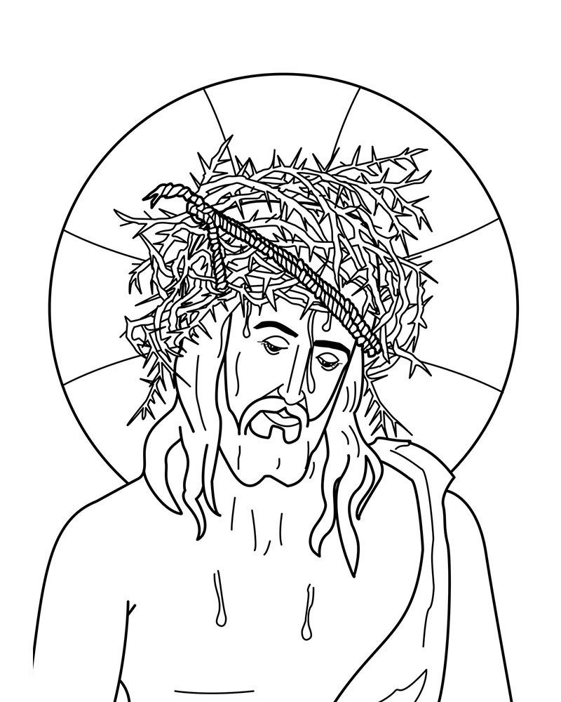 Imagenes de Jesus Coronado de Espinas para colorear   Imagenes y ...