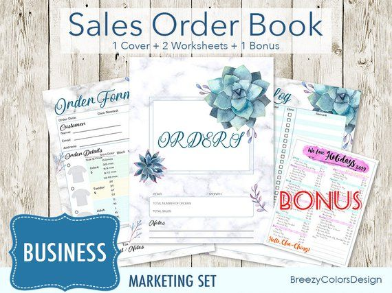 simple sales order book set of 4 instant download business planner