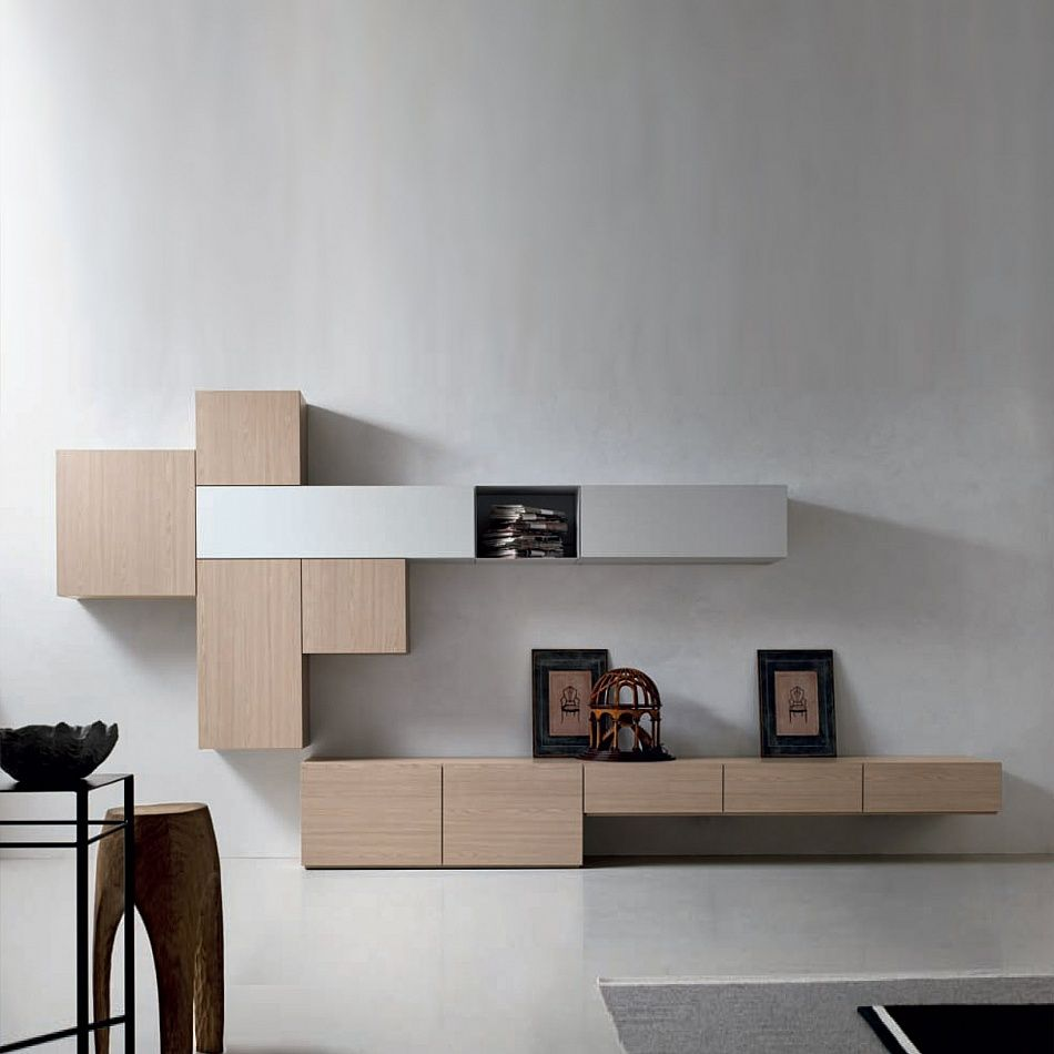 Modern Media Unit: Contemporary Modern TV Media Unit Wood By Santa Lucia